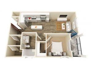 1 Bed / 1 Bath / 635 ft² / Rent: $1,870 - $1,945
