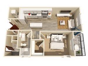 1 Bed / 1 Bath / 625 ft² / Rent: $1,855 - $2,030