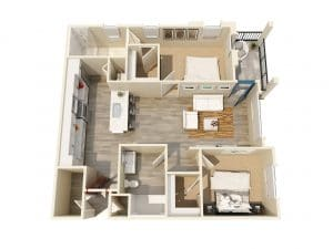2 Bed / 2 Bath / 952 ft² / Rent: $2,135 - $2,310