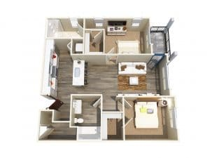 2 Bed / 2 Bath / 985 ft² / Rent: $2,205 - $2,340